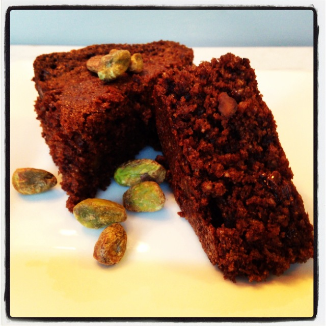 Whole Wheat Brownies with Chia Seeds and Pistachios