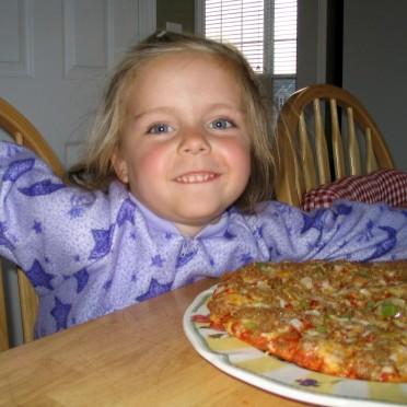15 - Haven is excited about her pizza
