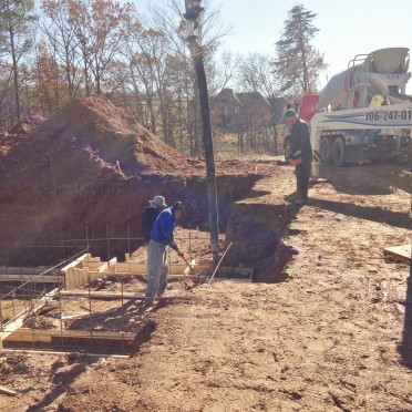 Pouring the concrete footings - 01