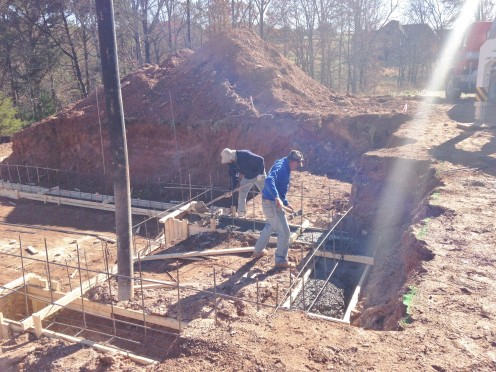 Pouring the concrete footings - 02