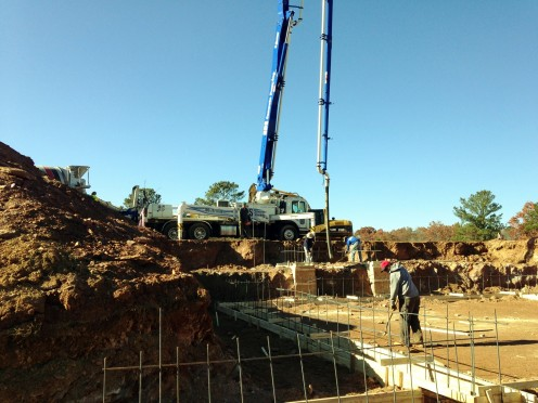Pouring the concrete footings - 03