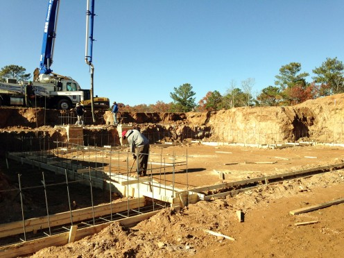Pouring the concrete footings - 04