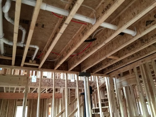 Plumbing above the guest room