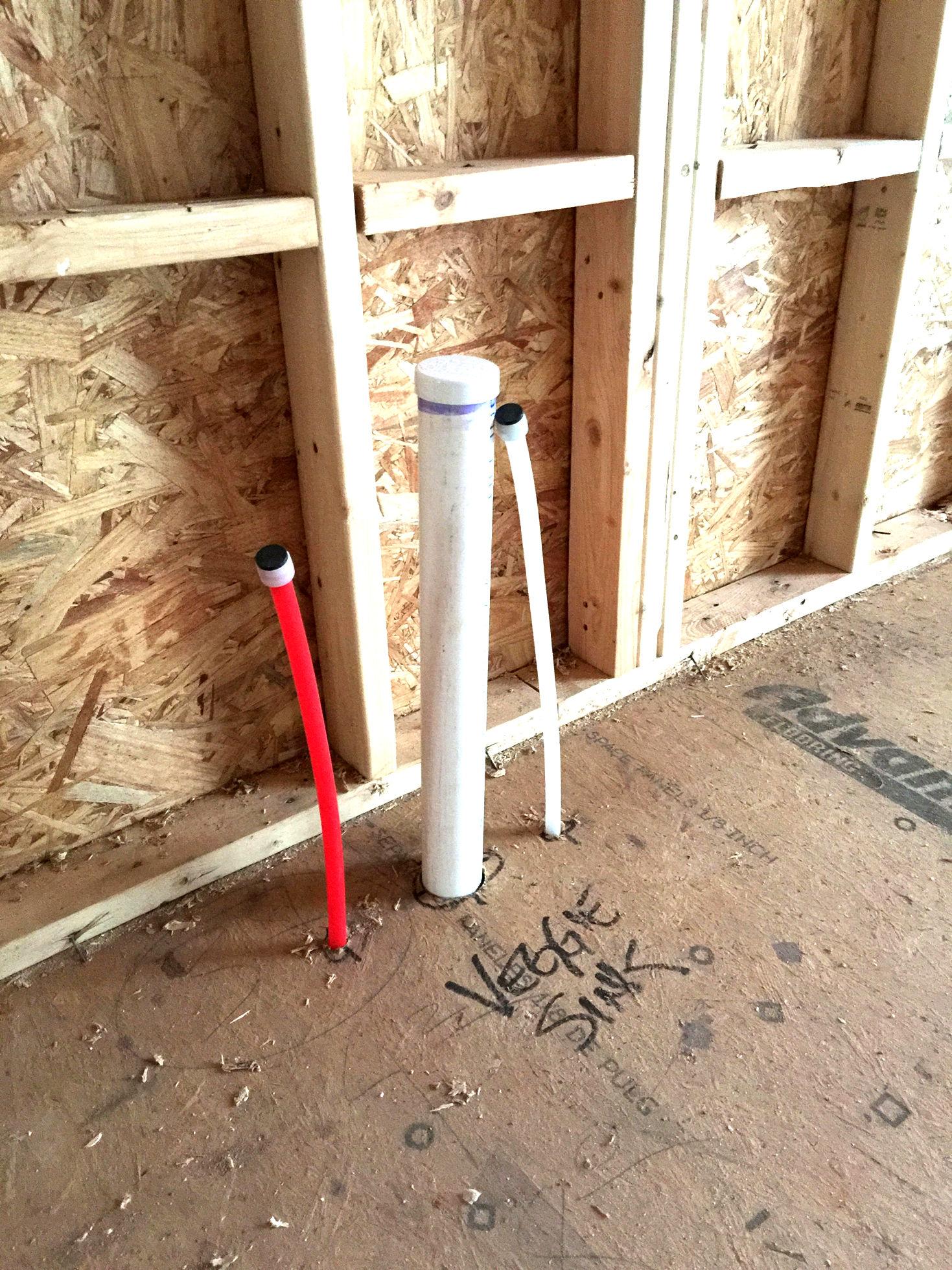 Rough plumbing complete for Pex pipe freeze protection