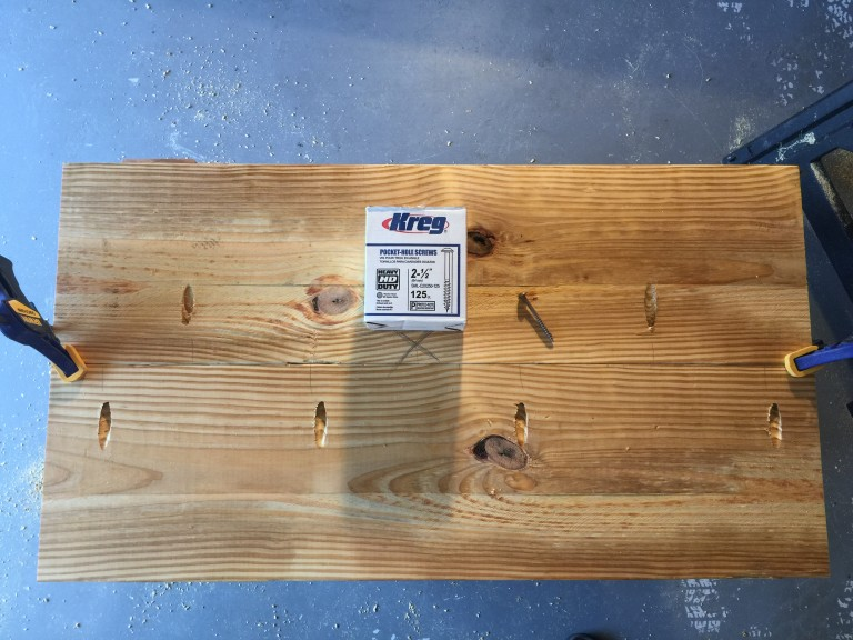 Kreg Jig HD pocket hole pattern (leave a spot open for where the sink drain will go so a screw is not in the way when you go to drill the hole)