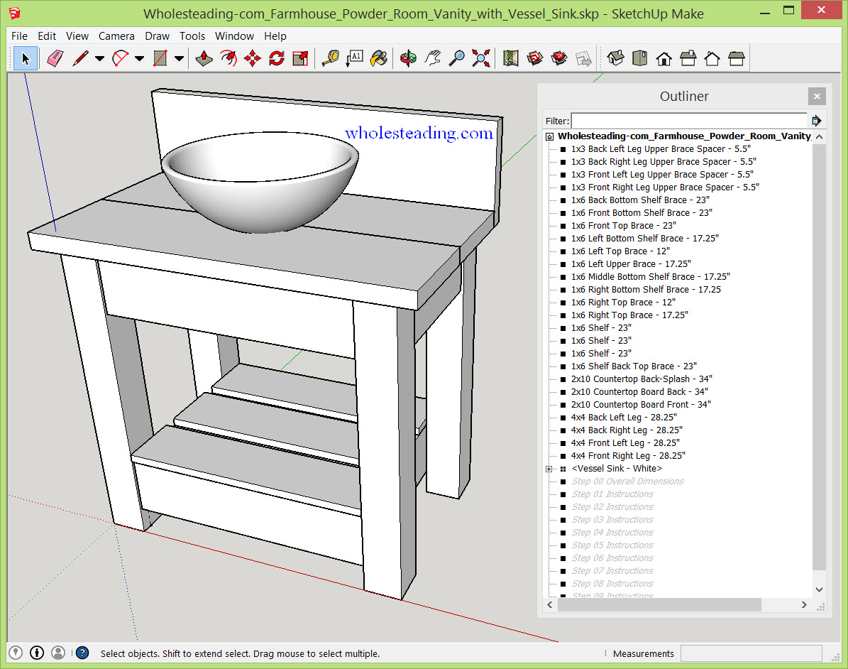 Wholesteading Com   SketchUp Plan   Farmhouse Powder Room Vanity With  Vessel Sink