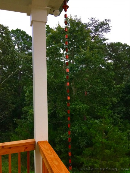 The rain chain on the other side of the front porch
