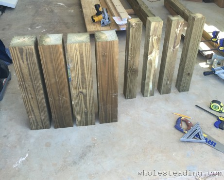 6x6s and 4x4s cut for the table ends