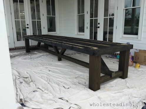 Its a good idea to go ahead and start applying the stain before the table gets to heavy to move
