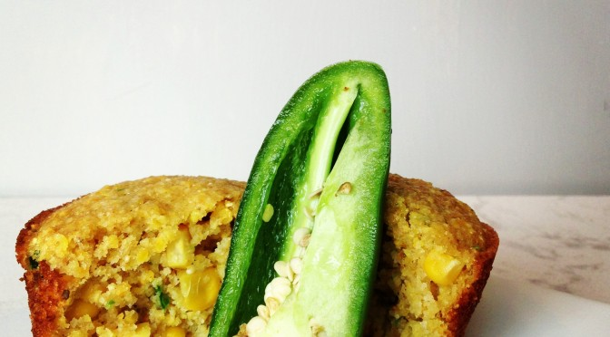 Sweet Whole Grain Corn Muffins with Jalapenos