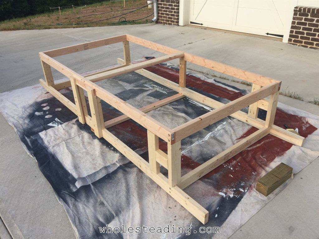 The finished frame. Ready for paint, roof, and wire mesh.