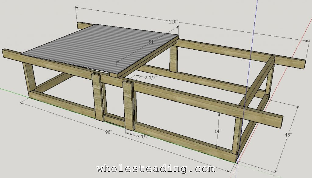Sketchup drawing of our Chicken Tractor design