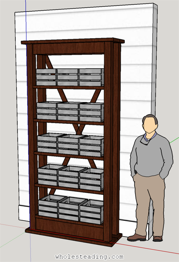 Final Sketchup Design of our Homemade Wood Shelf with Crates
